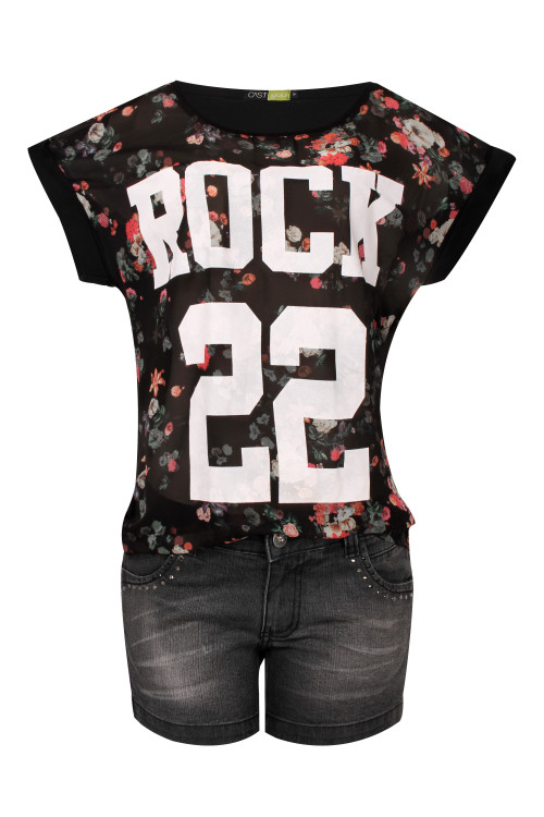 Blusa Chiffon Floral com Silk - R$39,90 e Shorts Black Jeans com spike - R$69,90